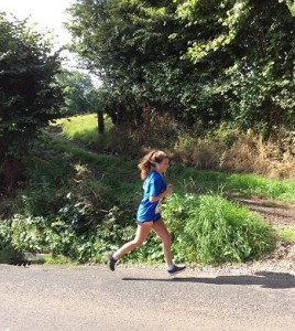 Ellie Woodward running the Ashbourne Half Marathon for Careline 2015